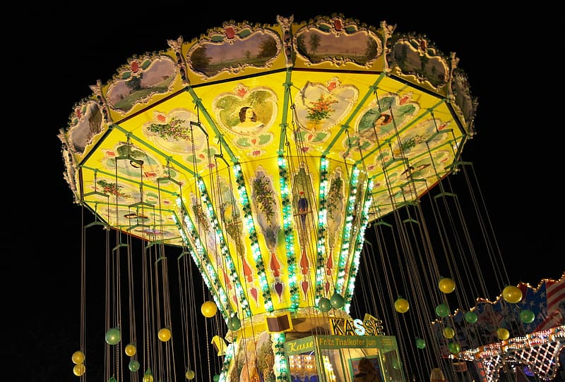 Yellow and red floral carousel