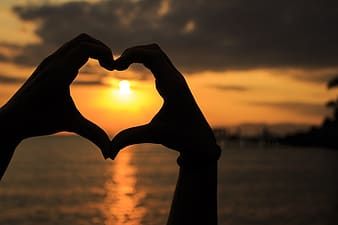 Silhouette photo of person forming his two hands together a heart in seashore during sunset