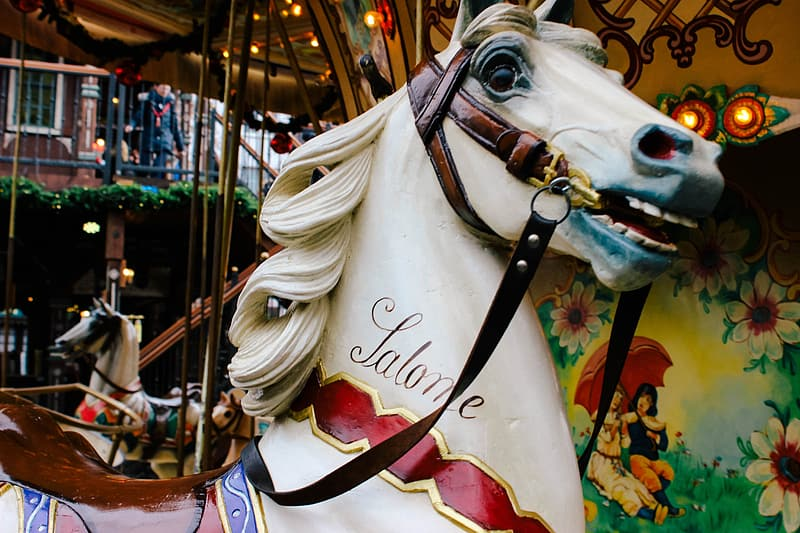White and red horse carousel