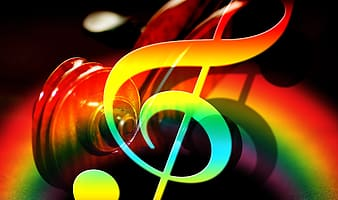 Rainbow color musical note illustration