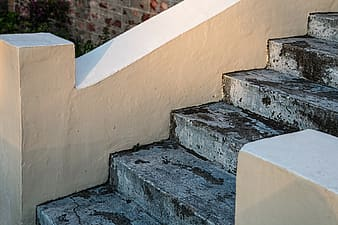 White and gray concrete staircase