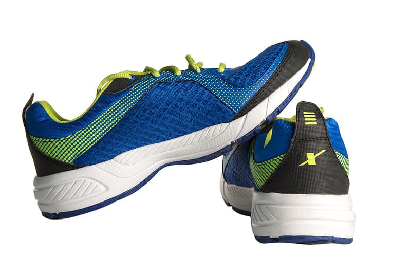 Pair of blue-and-black running shoes