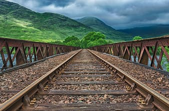Horizontal view train rail with mountain