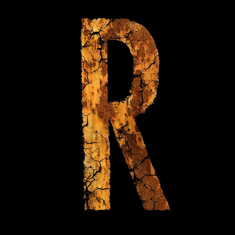 Brown letter R illustration on black background