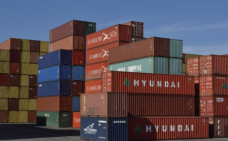 Red and blue cargo containers