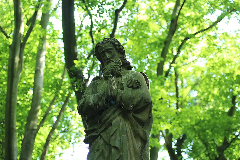 Praying man statue surrounded by trees