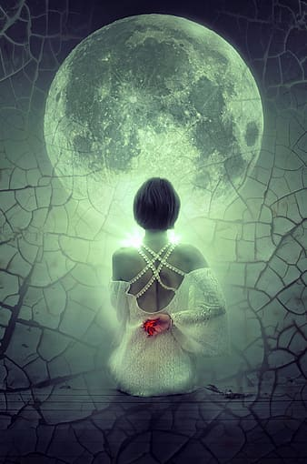 Woman looking on moon digital wallpaper