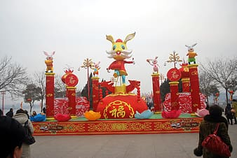 Red and yellow rabbit stage