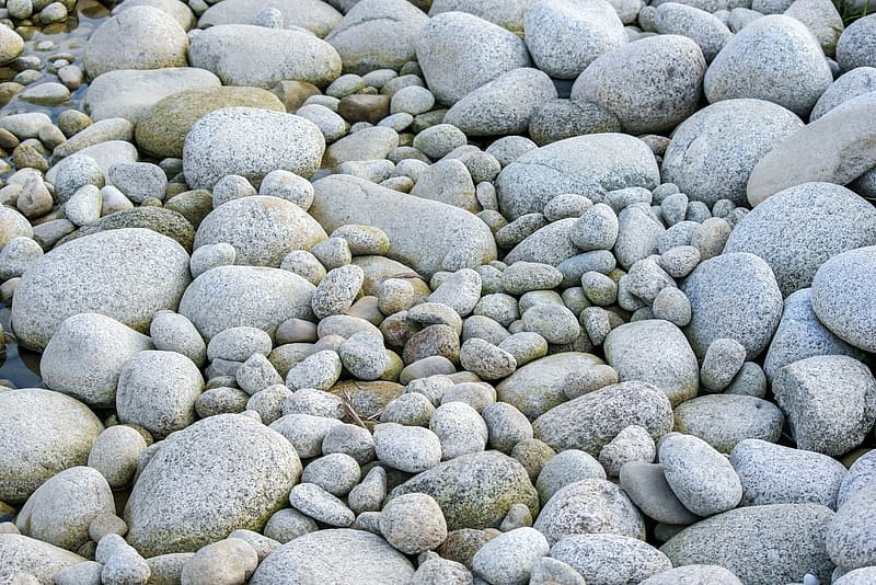 Gray and white pebbles on the ground