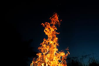 Flame during nighttime
