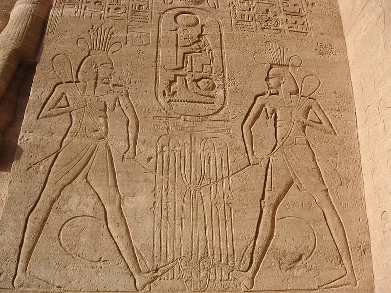 Architectural photo of Egyptian wall carvings