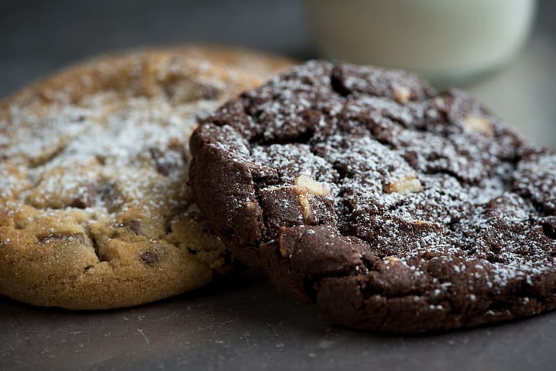 Two baked brownie and cookie