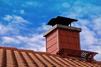 Brown brick roof with attic and chimney | Pikrepo