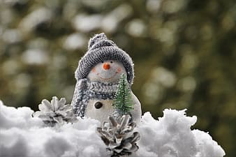Snowman with green scarf and gray knit cap