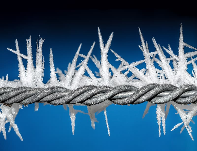 Gray steel barb wire covered in ice