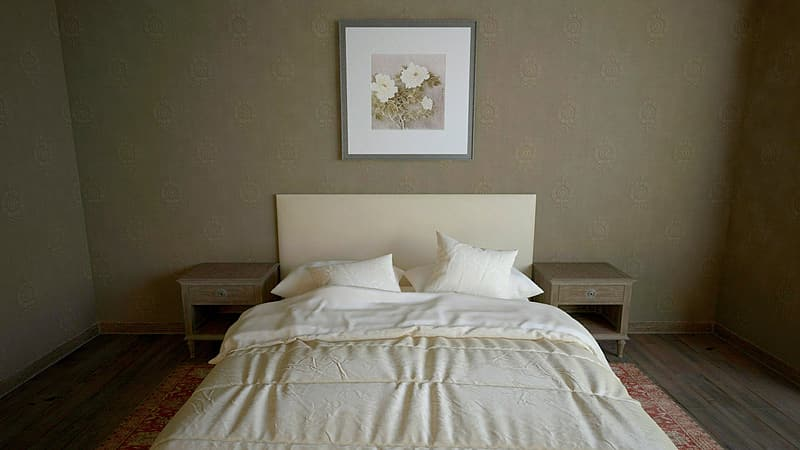 White bed sheet set beside two brown wooden end tables