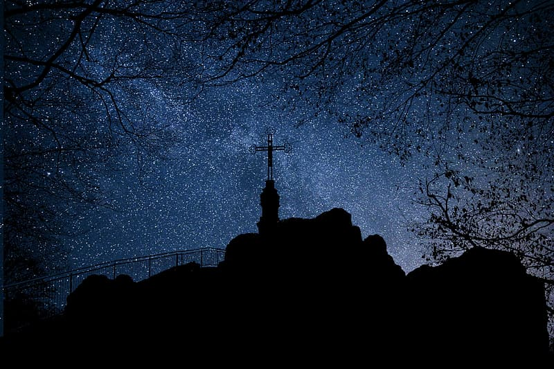 night, stars, mountain, cross, religion, landscape, belief, silhouette, tree, architecture
