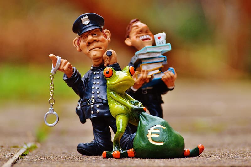 Police office with red eyed tree frog figurines
