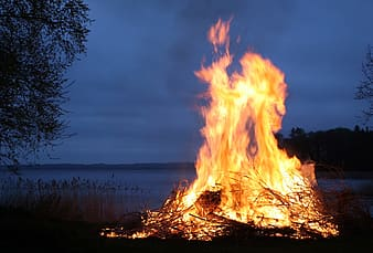 untitled, sweden, fire, flames, bonfire, sky, clouds, night, evening, silhouette