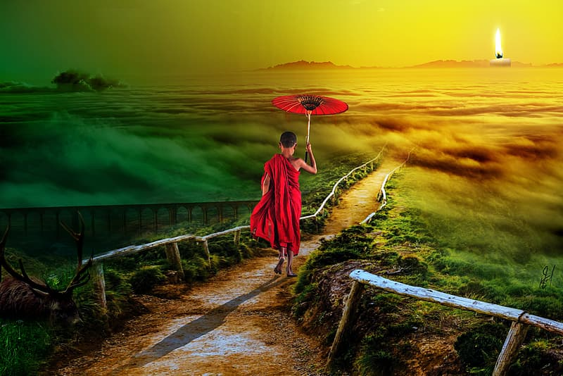 Painting of a person walking on pathway using umbrella