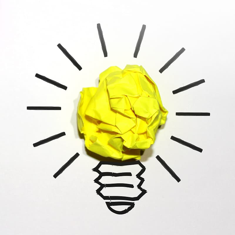 Idea Concept with Yellow Crumpled Paper