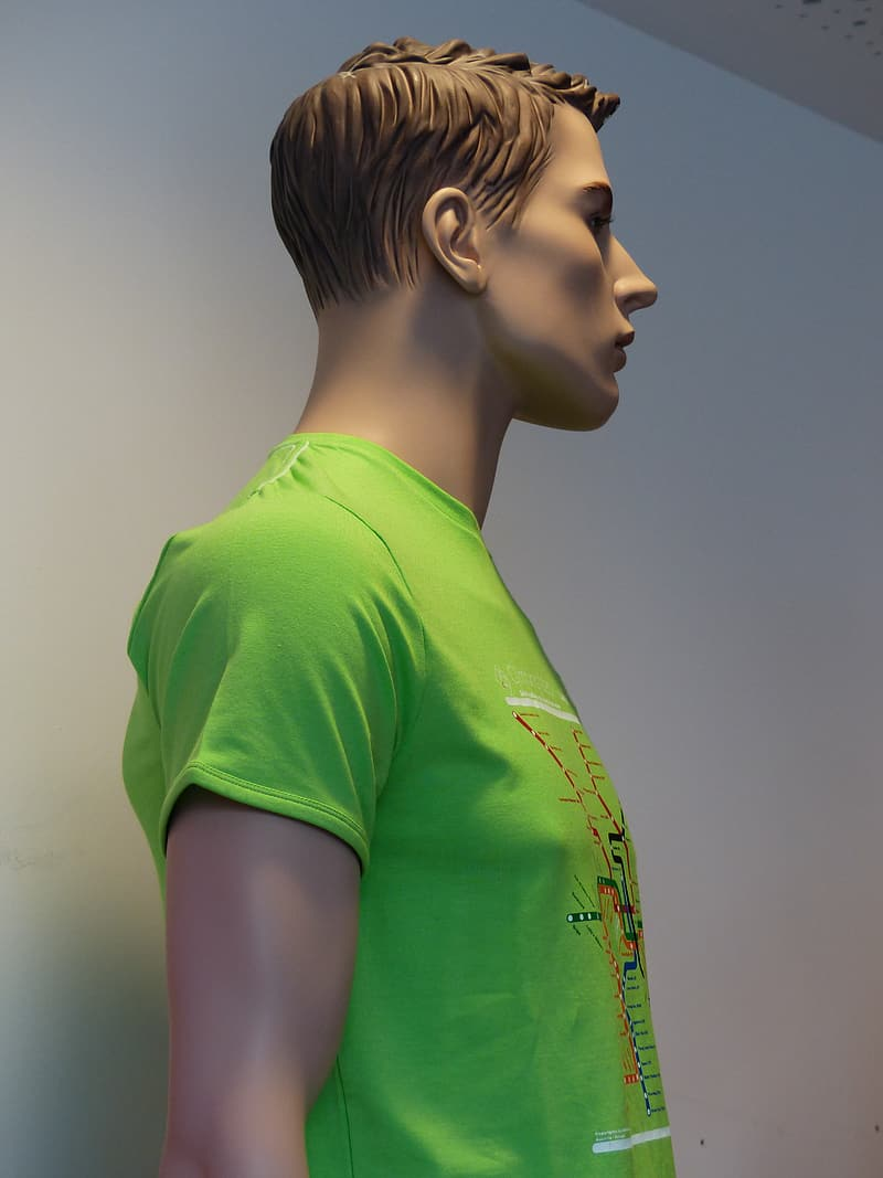 Woman in green crew neck t-shirt