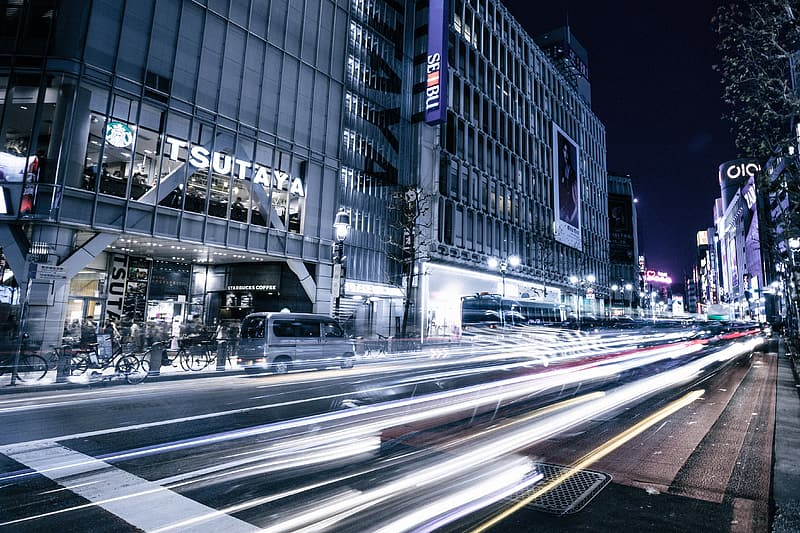 Time lapse street photography during night time