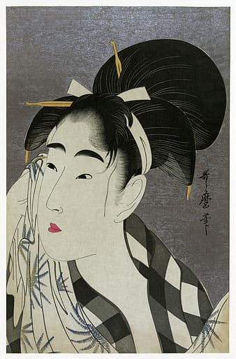 Woman wearing gray and white top traditional painting