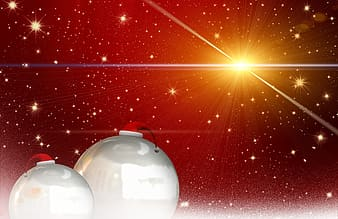Two bauble with christmas hat decor