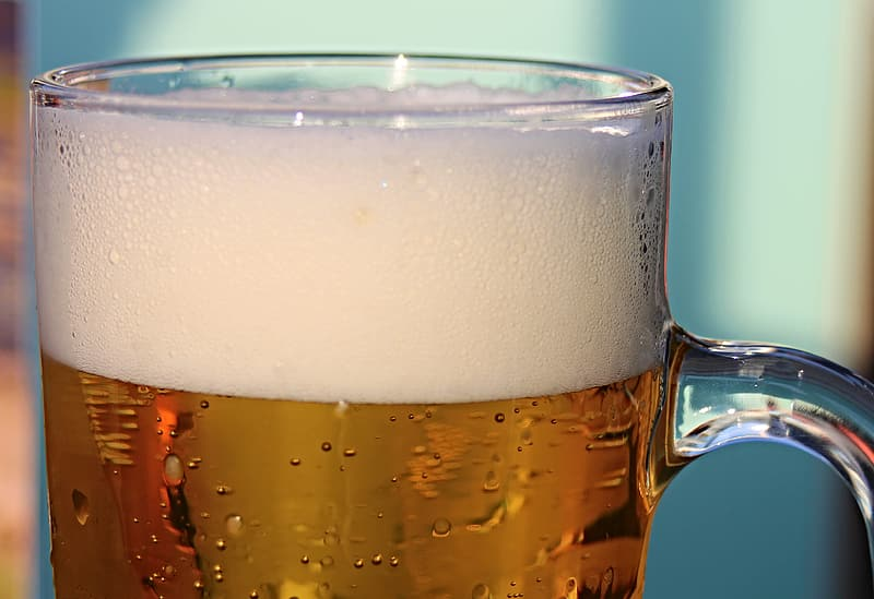 Glass beer mug with beer