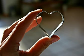 Macro photography of person holding silver-colored heart-shaped frame