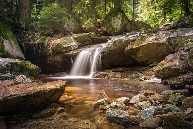 Time lapse photography of waterfalls in the forest