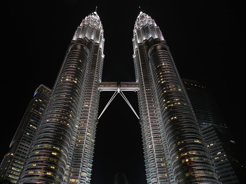 Petronas Tower in low angle shot during nighttime
