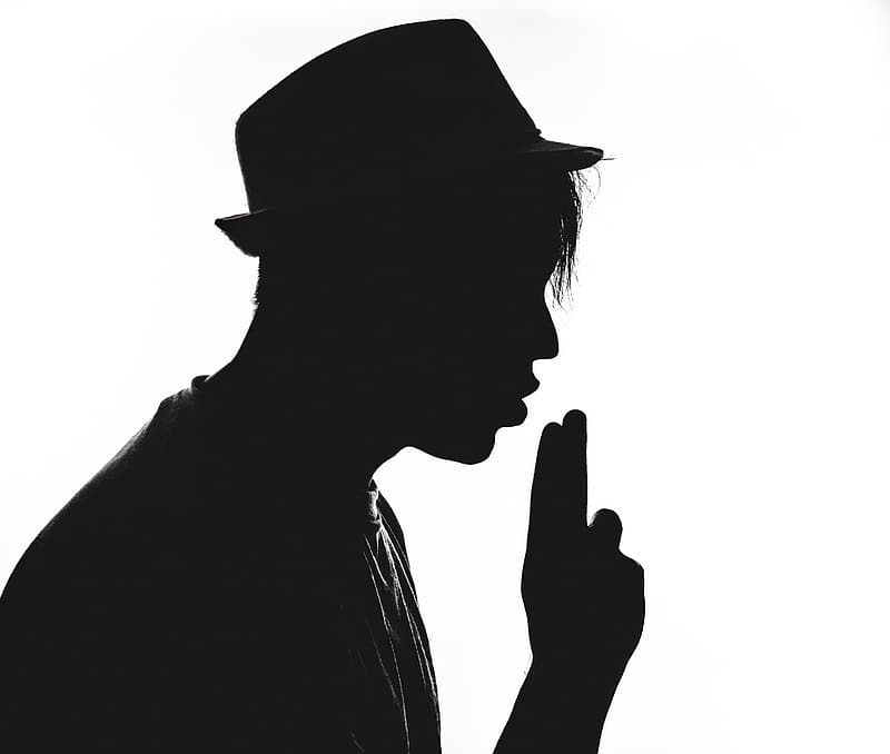 Silhouette of person in white background