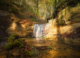 Timelapse photography of waterfalls with green foliage trees