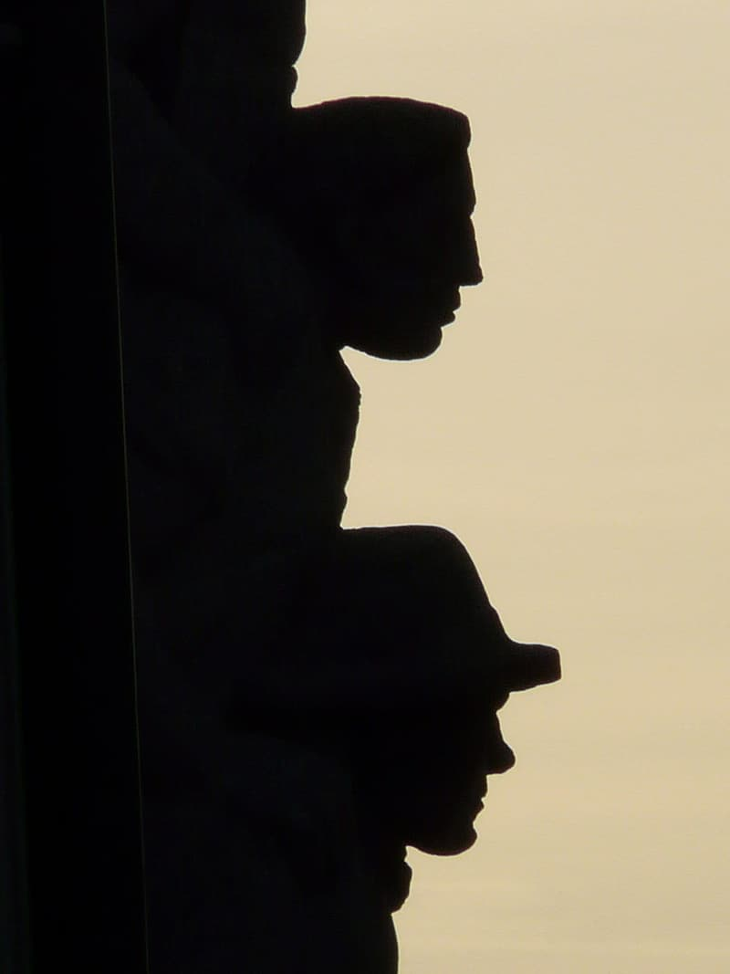 Facade, Building, Shadow Play, Head, heads, shadow, back light, person, face, portrait