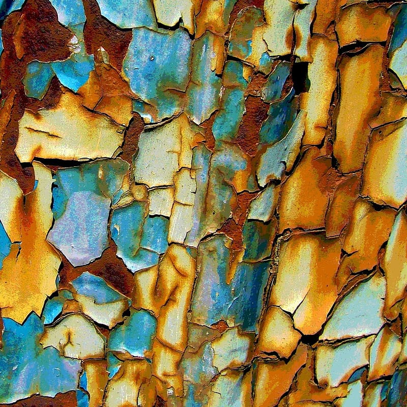 Blue and brown rusted metal