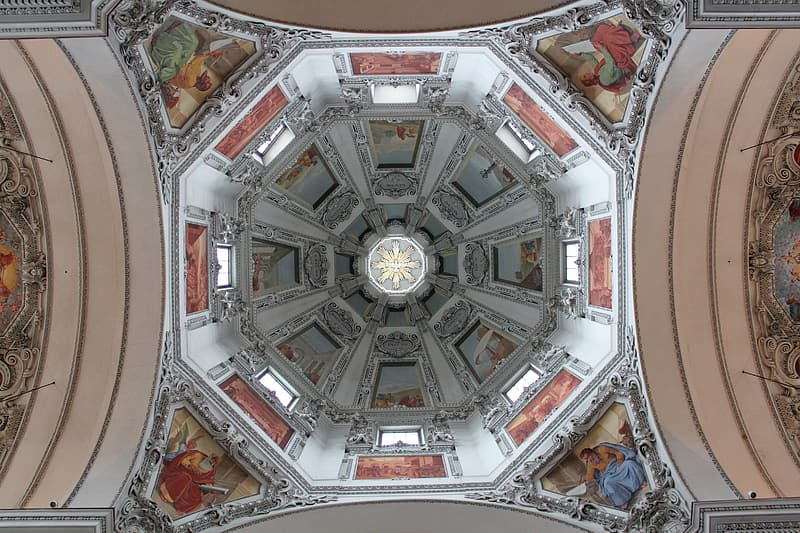 Low angle photography of dome building interior
