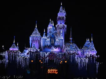 Purple castle during nighttime