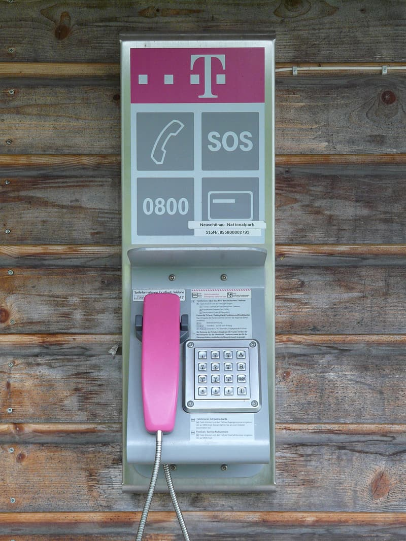 Pink telephone on brown wooden wall