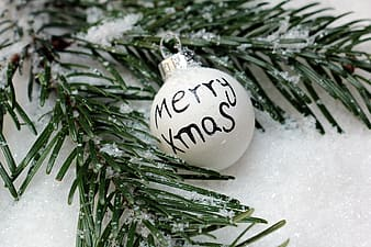 White Merry Xmas-printed bauble beside green leafed decor