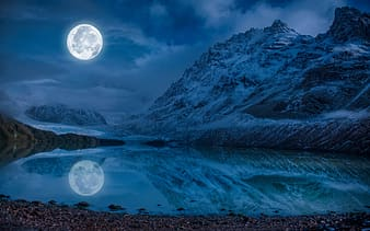 Body of water and moon landscape