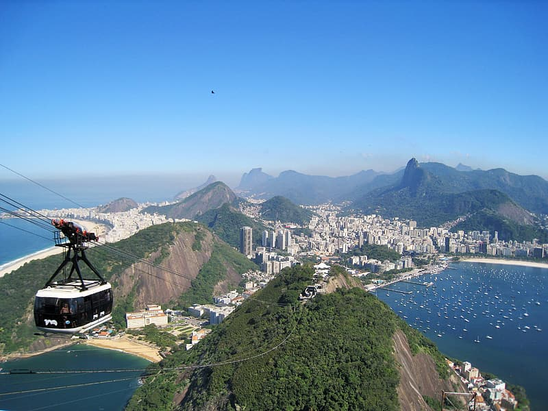 Aerial view photo of cable car