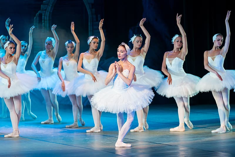 Group of ballerinas on stage