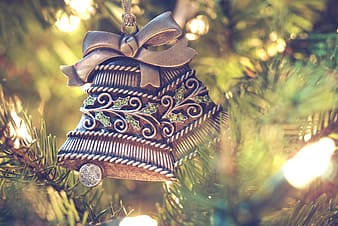 Grey bell christmas tree ornament