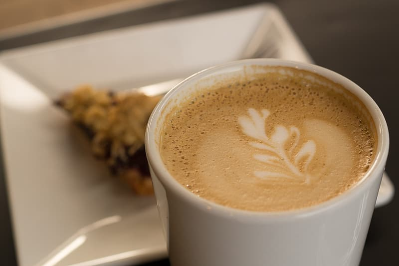 Coffee with latte in ceramic cup