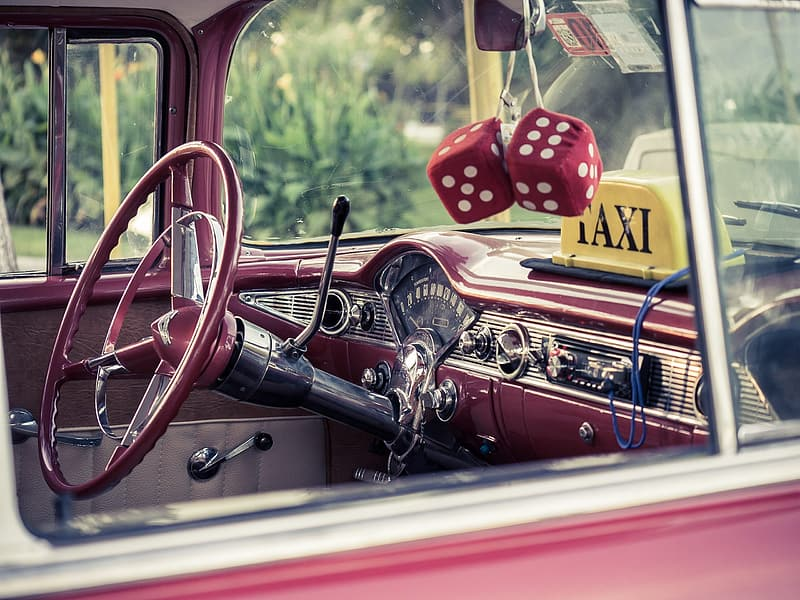 Classic red and silver car interior