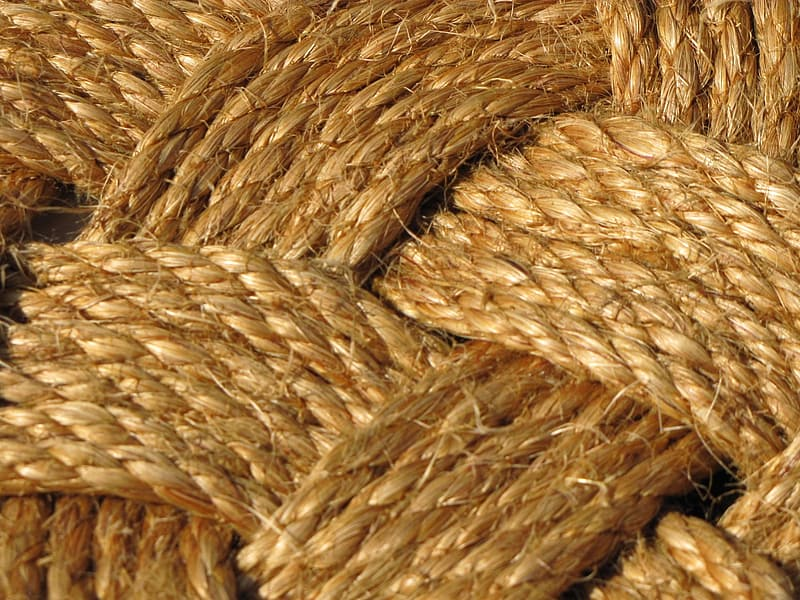 Brown rope on white textile