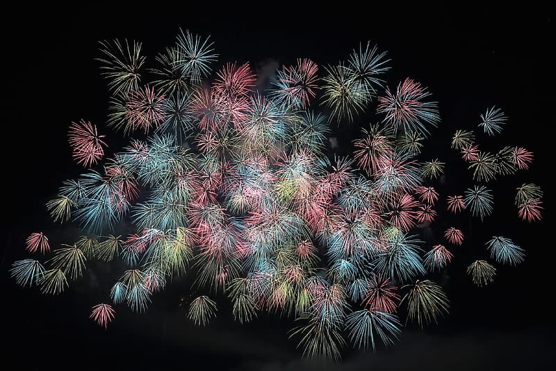 Green and white fireworks display