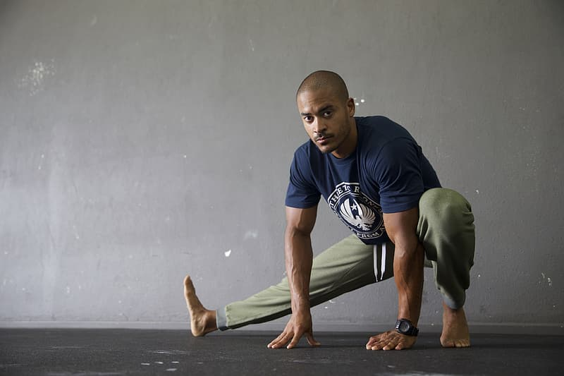 Men's blue and white t-shirt and gray pants